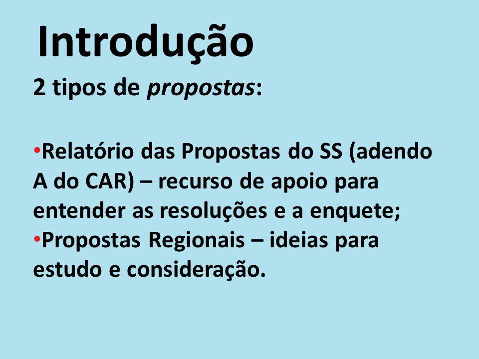 Introdução 2 tipos de propostas: Relatório das Propostas do SS (adendo A do CAR) – recurso de apoio para entender as resoluções e a enquete; Propostas