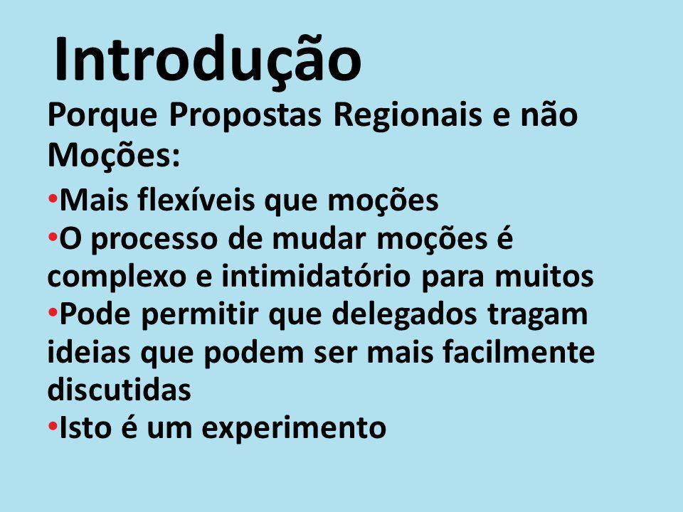 Introdução Porque Propostas Regionais e não Moções: Mais flexíveis que moções O processo de mudar moções é complexo e intimidatório para muitos Pode p
