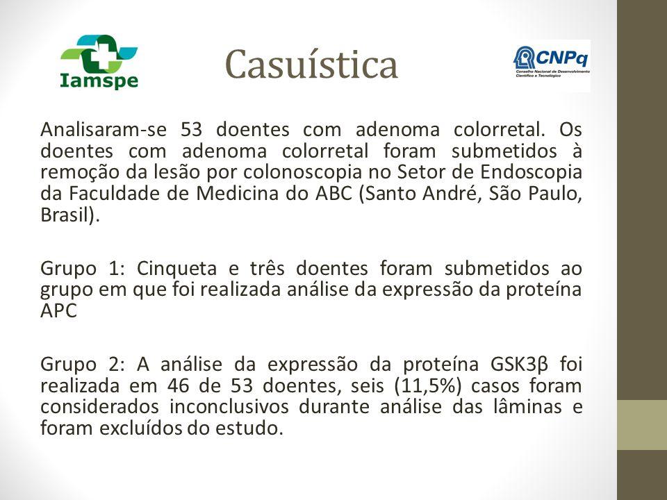 Casuística Analisaram-se 53 doentes com adenoma colorretal. Os doentes com adenoma colorretal foram submetidos à remoção da lesão por colonoscopia no