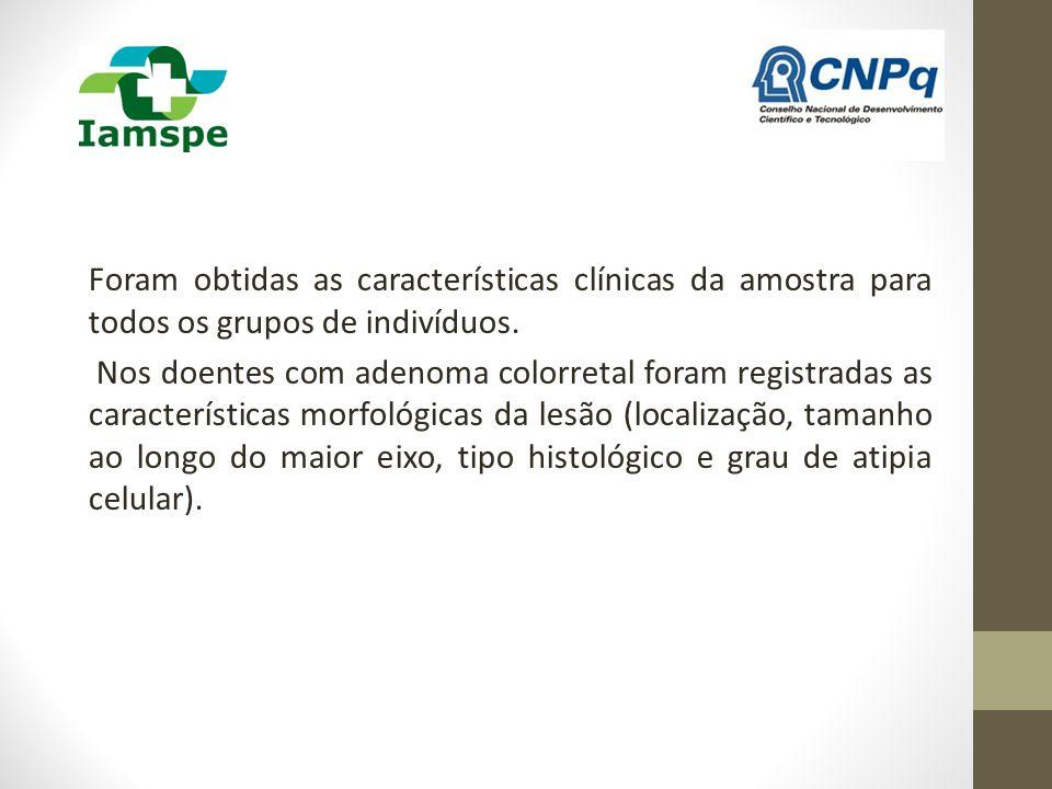 Foram obtidas as características clínicas da amostra para todos os grupos de indivíduos. Nos doentes com adenoma colorretal foram registradas as carac