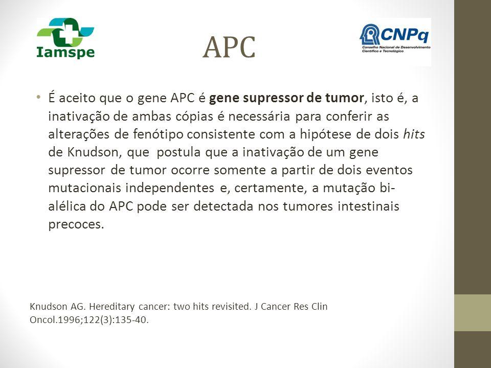 APC É aceito que o gene APC é gene supressor de tumor, isto é, a inativação de ambas cópias é necessária para conferir as alterações de fenótipo consi