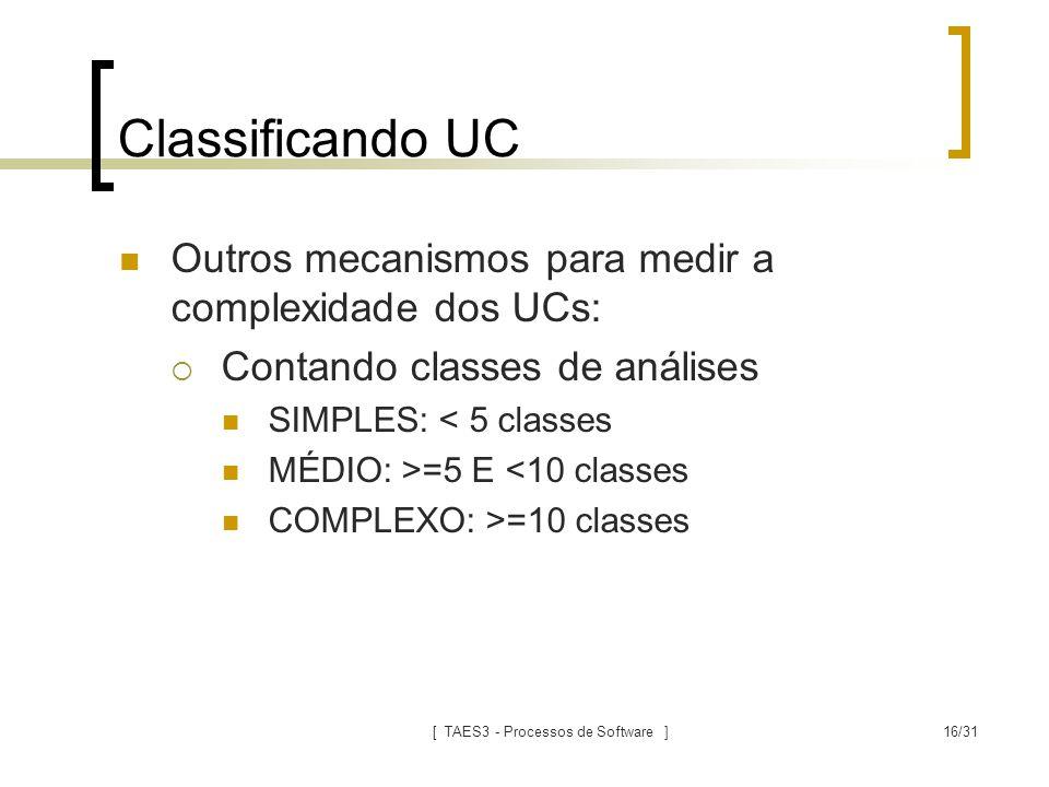 [ TAES3 - Processos de Software ]16/31 Classificando UC Outros mecanismos para medir a complexidade dos UCs:  Contando classes de análises SIMPLES: <