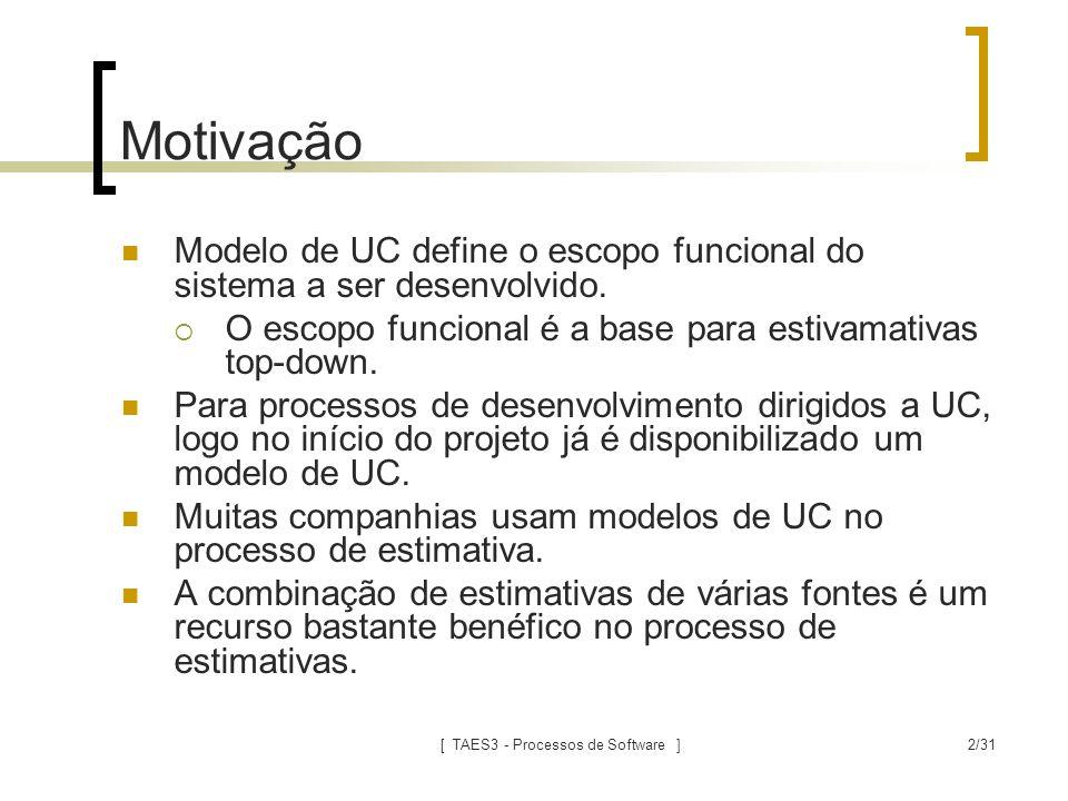 [ TAES3 - Processos de Software ]2/31 Motivação Modelo de UC define o escopo funcional do sistema a ser desenvolvido.  O escopo funcional é a base pa