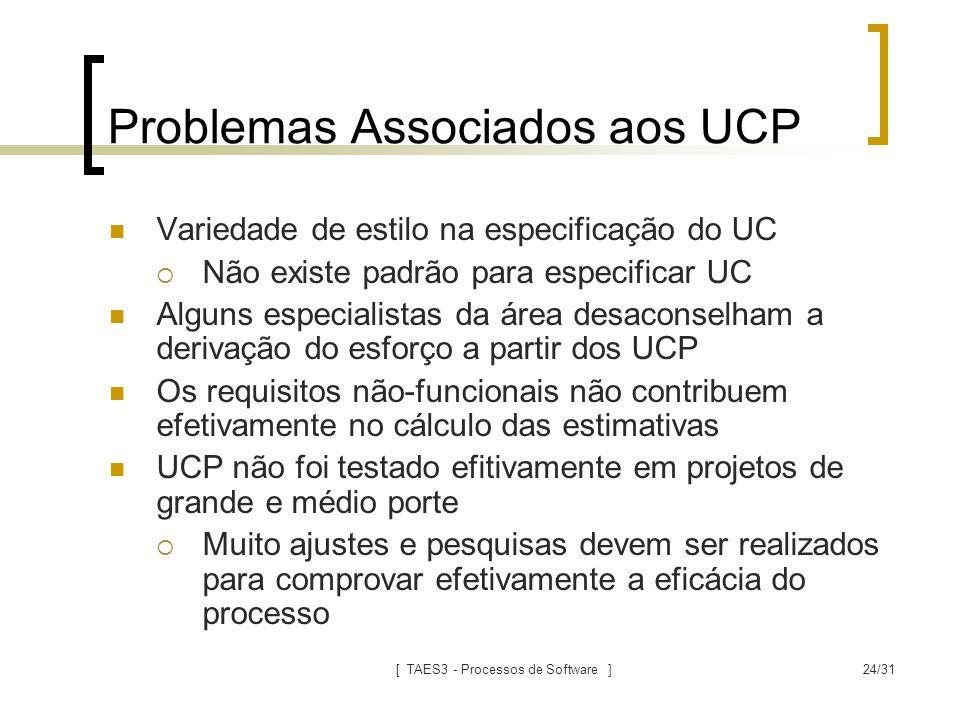 [ TAES3 - Processos de Software ]24/31 Problemas Associados aos UCP Variedade de estilo na especificação do UC  Não existe padrão para especificar UC