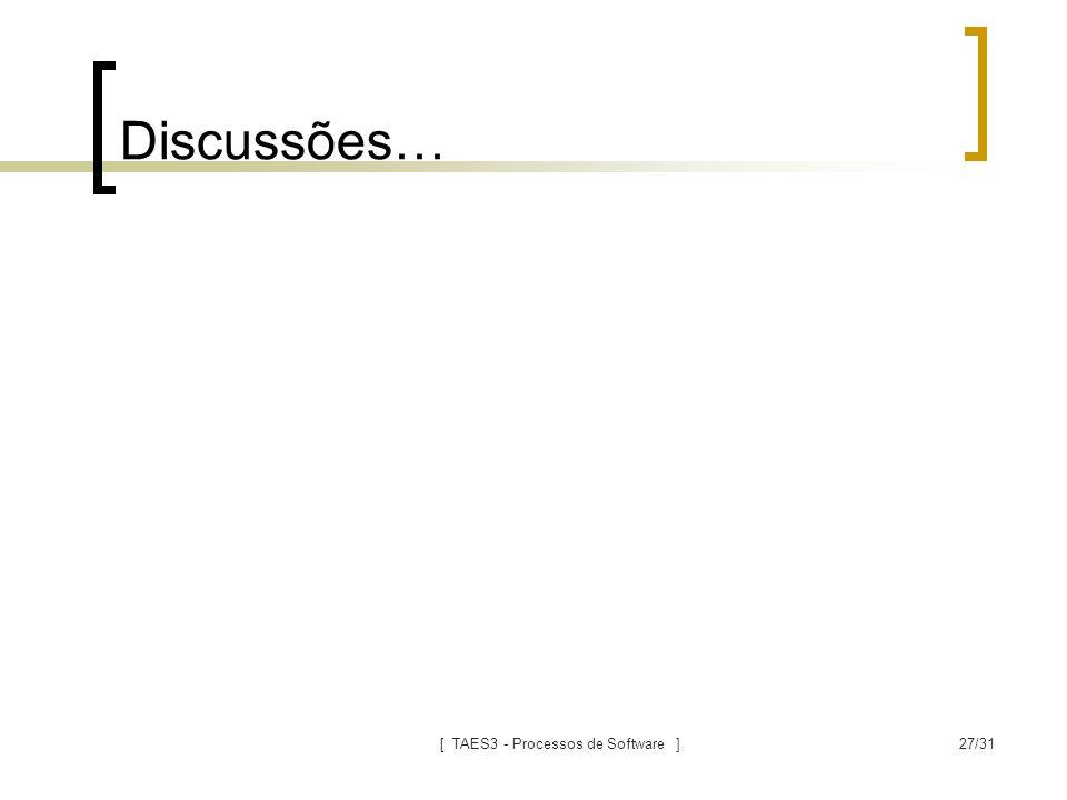 [ TAES3 - Processos de Software ]27/31 Discussões…