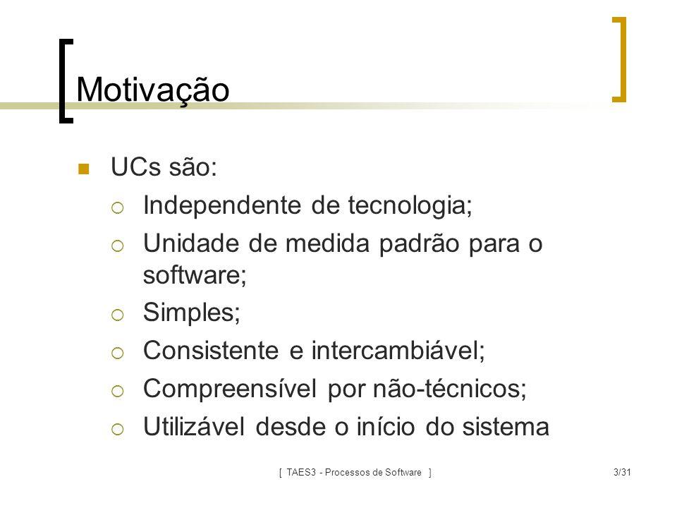 [ TAES3 - Processos de Software ]3/31 Motivação UCs são:  Independente de tecnologia;  Unidade de medida padrão para o software;  Simples;  Consis