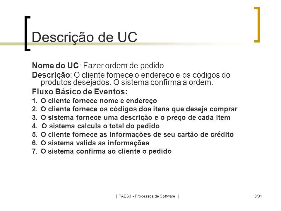 [ TAES3 - Processos de Software ]8/31 Descrição de UC Nome do UC: Fazer ordem de pedido Descrição: O cliente fornece o endereço e os códigos do produt