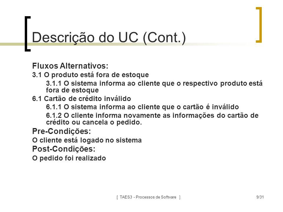 [ TAES3 - Processos de Software ]9/31 Descrição do UC (Cont.) Fluxos Alternativos: 3.1 O produto está fora de estoque 3.1.1 O sistema informa ao clien