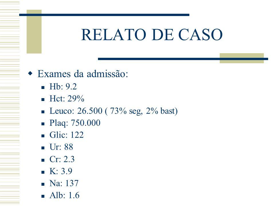 RELATO DE CASO  Exames da admissão: Hb: 9.2 Hct: 29% Leuco: 26.500 ( 73% seg, 2% bast) Plaq: 750.000 Glic: 122 Ur: 88 Cr: 2.3 K: 3.9 Na: 137 Alb: 1.6