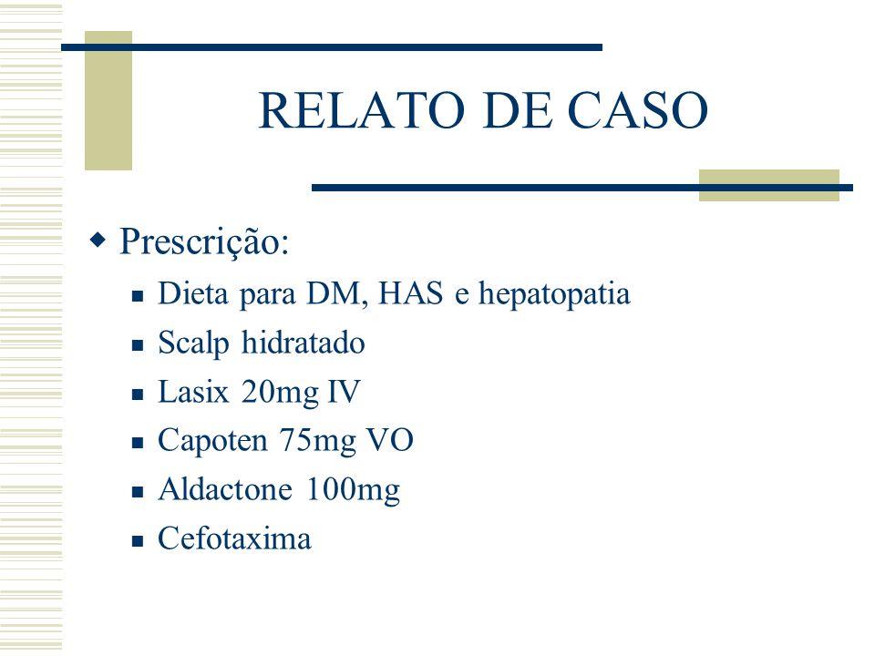 RELATO DE CASO  Prescrição: Dieta para DM, HAS e hepatopatia Scalp hidratado Lasix 20mg IV Capoten 75mg VO Aldactone 100mg Cefotaxima