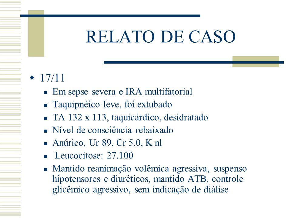 RELATO DE CASO  17/11 Em sepse severa e IRA multifatorial Taquipnéico leve, foi extubado TA 132 x 113, taquicárdico, desidratado Nível de consciência