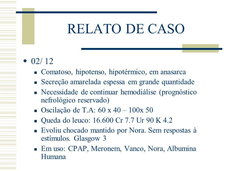 RELATO DE CASO  02/ 12 Comatoso, hipotenso, hipotérmico, em anasarca Secreção amarelada espessa em grande quantidade Necessidade de continuar hemodiá