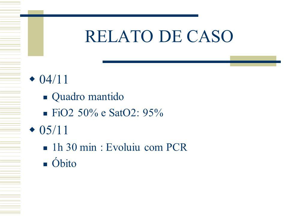 RELATO DE CASO  04/11 Quadro mantido FiO2 50% e SatO2: 95%  05/11 1h 30 min : Evoluiu com PCR Óbito