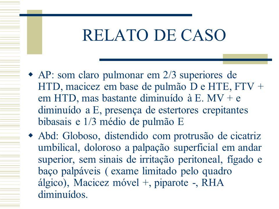 RELATO DE CASO  AP: som claro pulmonar em 2/3 superiores de HTD, macicez em base de pulmão D e HTE, FTV + em HTD, mas bastante diminuído à E. MV + e