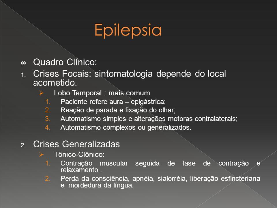  Quadro Clínico: 1. Crises Focais: sintomatologia depende do local acometido.  Lobo Temporal : mais comum 1.Paciente refere aura – epigástrica; 2.Re