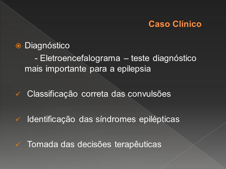  Diagnóstico - Eletroencefalograma – teste diagnóstico mais importante para a epilepsia Classificação correta das convulsões Identificação das síndro