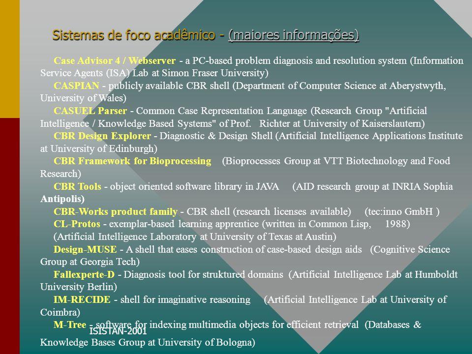 ISISTAN-2001 Sistemas de foco acadêmico - (maiores informações) (maiores informações)(maiores informações) Case Advisor 4 / Webserver - a PC-based pro