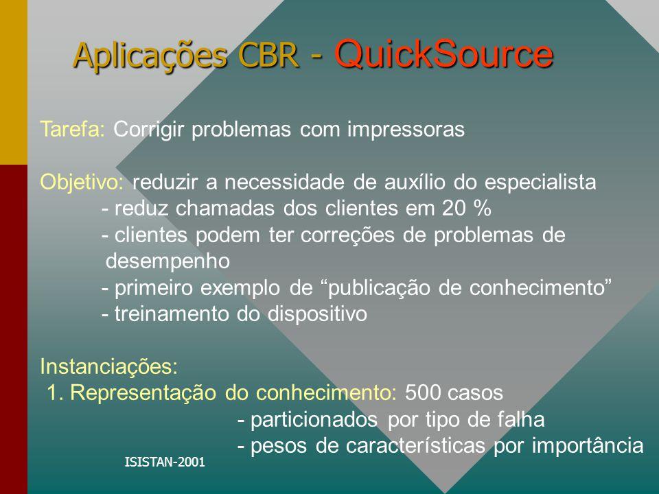 ISISTAN-2001 Aplicações CBR - QuickSource Tarefa: Corrigir problemas com impressoras Objetivo: reduzir a necessidade de auxílio do especialista - redu