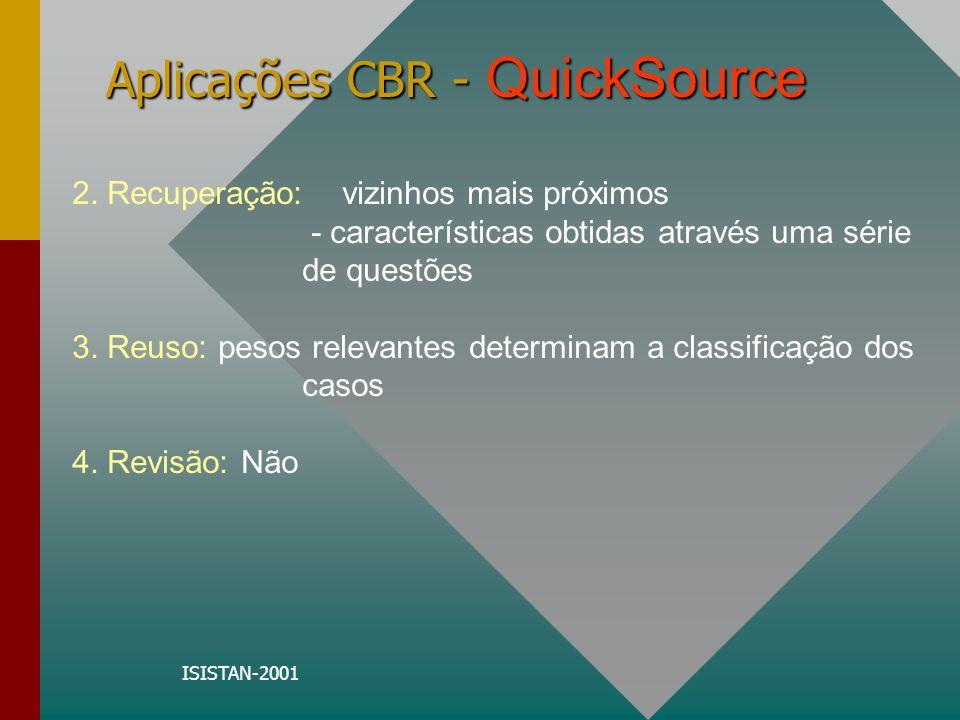 ISISTAN-2001 Aplicações CBR - QuickSource 2. Recuperação: vizinhos mais próximos - características obtidas através uma série de questões 3. Reuso: pes