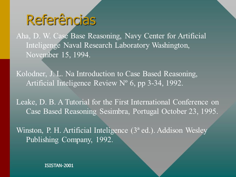 ISISTAN-2001 Referências Aha, D. W. Case Base Reasoning, Navy Center for Artificial Inteligenge Naval Research Laboratory Washington, November 15, 199