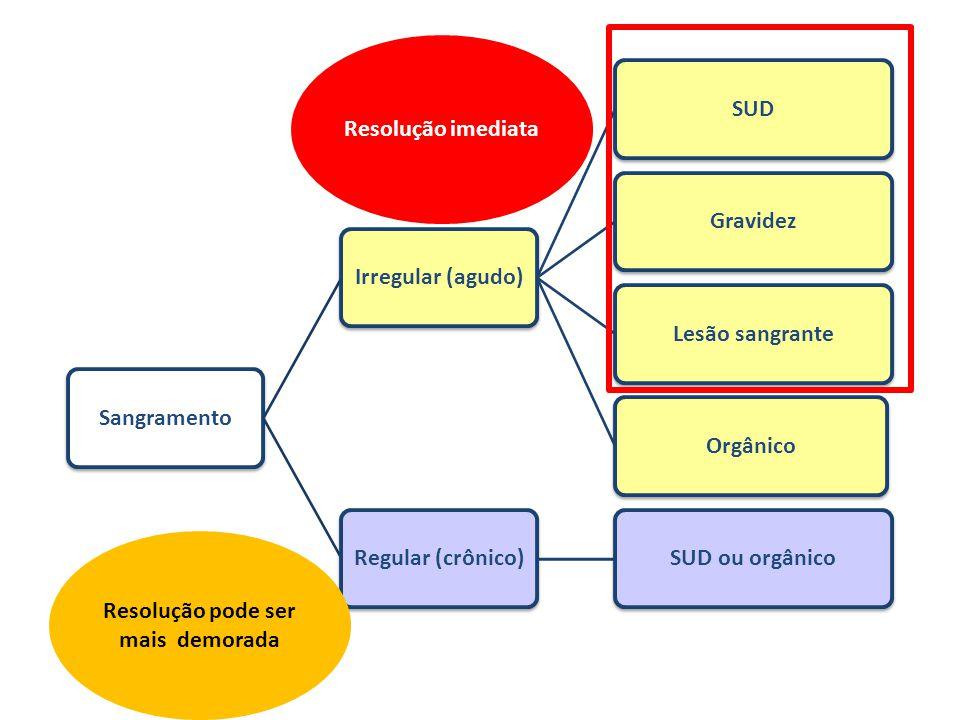 SangramentoIrregular (agudo)SUDGravidezLesão sangranteOrgânicoRegular (crônico)SUD ou orgânico Resolução imediata Resolução pode ser mais demorada