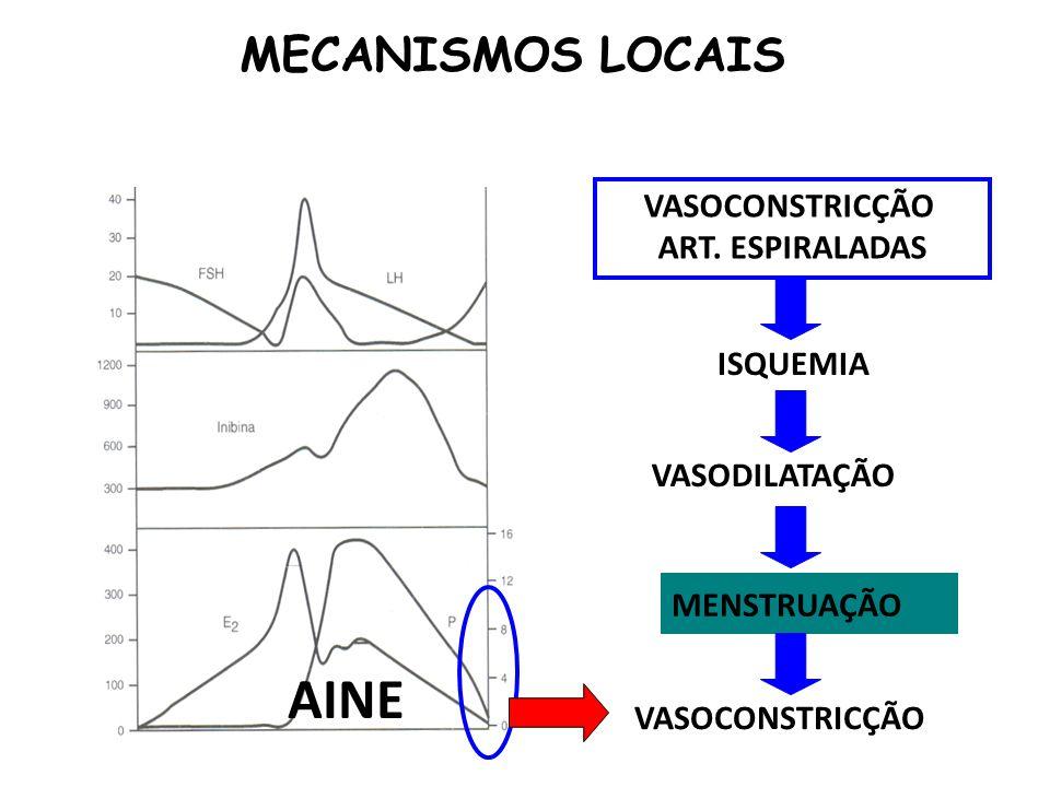 VASOCONSTRICÇÃO ART. ESPIRALADAS ISQUEMIA VASODILATAÇÃO MENSTRUAÇÃO VASOCONSTRICÇÃO MECANISMOS LOCAIS AINE