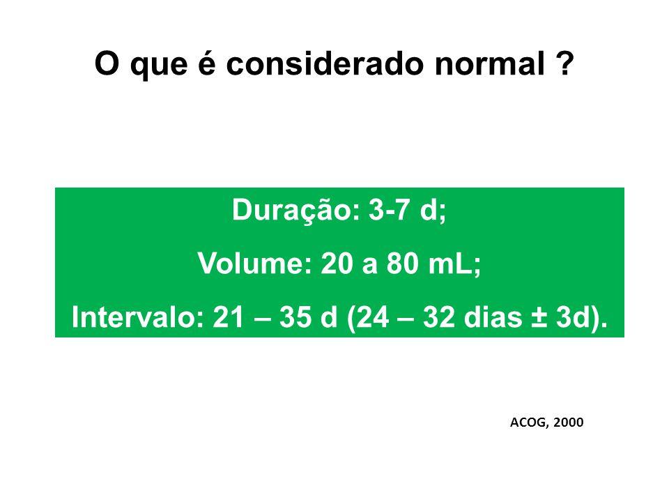 O que é considerado normal ? Duração: 3-7 d; Volume: 20 a 80 mL; Intervalo: 21 – 35 d (24 – 32 dias ± 3d). ACOG, 2000
