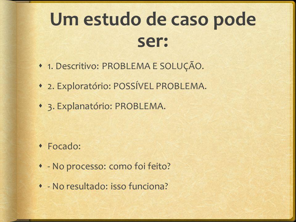 Um estudo de caso pode ser:  1. Descritivo: PROBLEMA E SOLUÇÃO.  2. Exploratório: POSSÍVEL PROBLEMA.  3. Explanatório: PROBLEMA.  Focado:  - No p