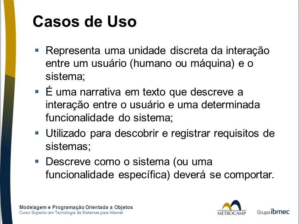 Modelagem e Programação Orientada a Objetos Curso Superior em Tecnologia de Sistemas para Internet Casos de Uso  Representa uma unidade discreta da i