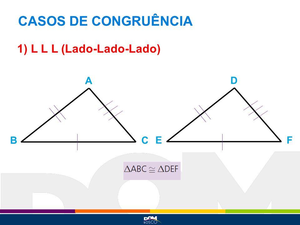 CASOS DE CONGRUÊNCIA 1) L L L (Lado-Lado-Lado) A BC D EF