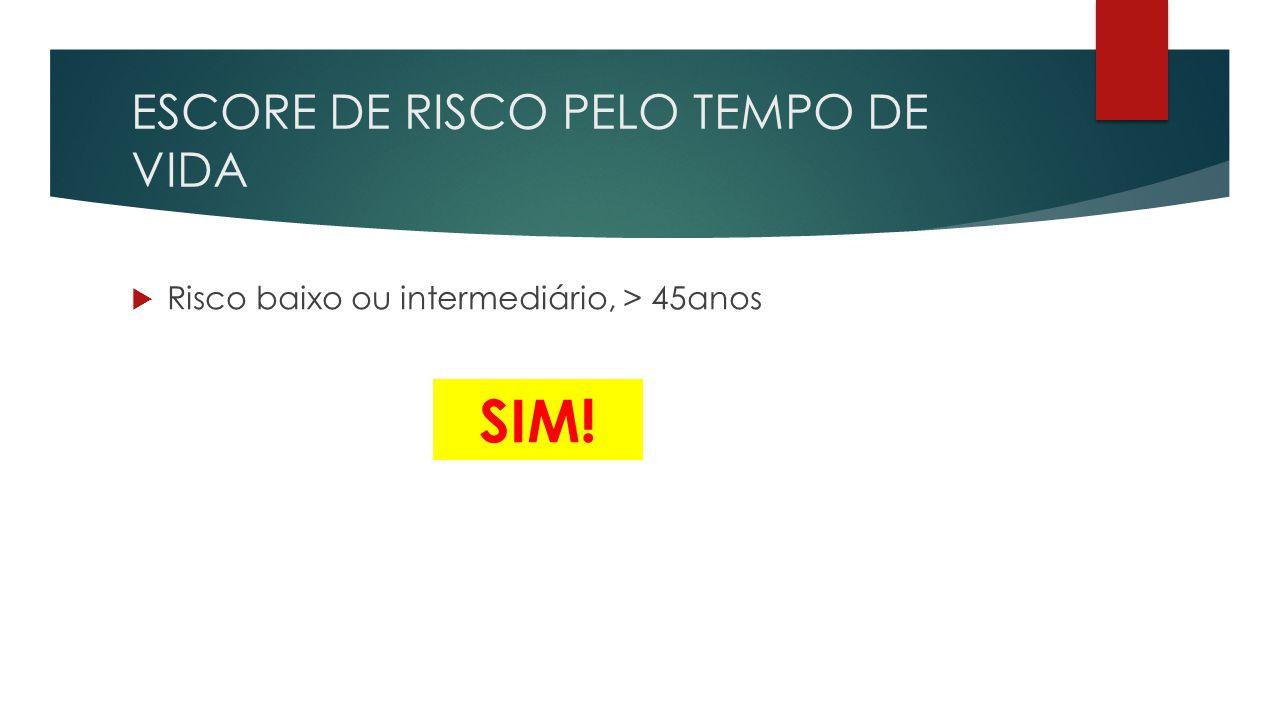 ESCORE DE RISCO PELO TEMPO DE VIDA  Risco baixo ou intermediário, > 45anos SIM!