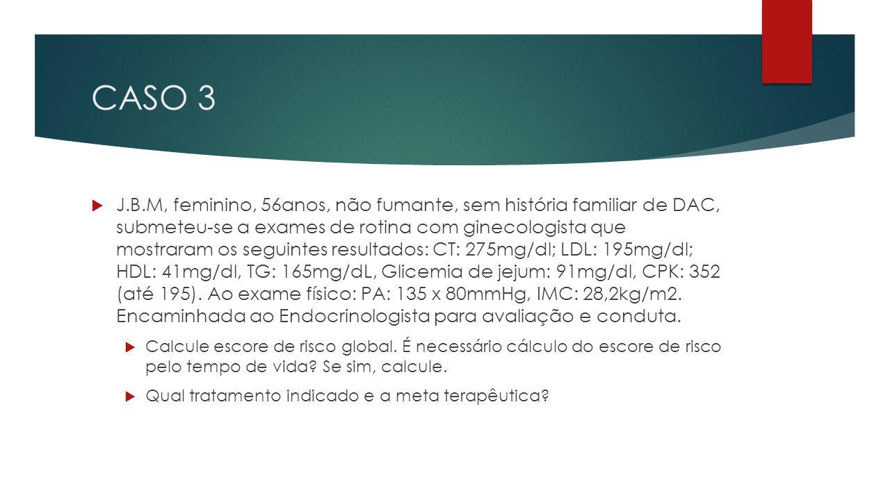 CASO 3  J.B.M, feminino, 56anos, não fumante, sem história familiar de DAC, submeteu-se a exames de rotina com ginecologista que mostraram os seguint