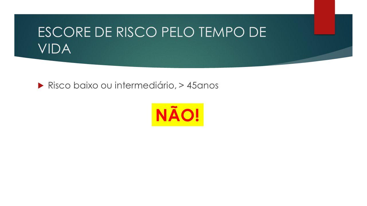 ESCORE DE RISCO PELO TEMPO DE VIDA  Risco baixo ou intermediário, > 45anos NÃO!