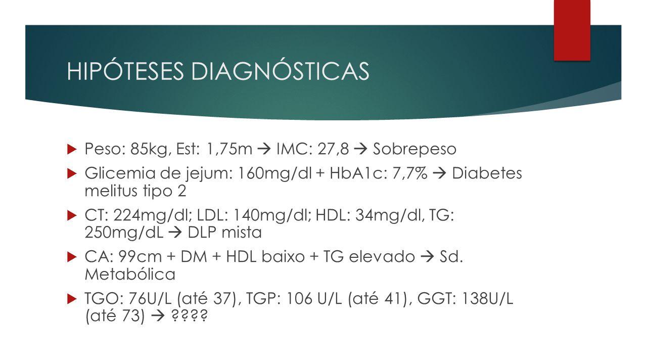 HIPÓTESES DIAGNÓSTICAS  Peso: 85kg, Est: 1,75m  IMC: 27,8  Sobrepeso  Glicemia de jejum: 160mg/dl + HbA1c: 7,7%  Diabetes melitus tipo 2  CT: 224mg/dl; LDL: 140mg/dl; HDL: 34mg/dl, TG: 250mg/dL  DLP mista  CA: 99cm + DM + HDL baixo + TG elevado  Sd.