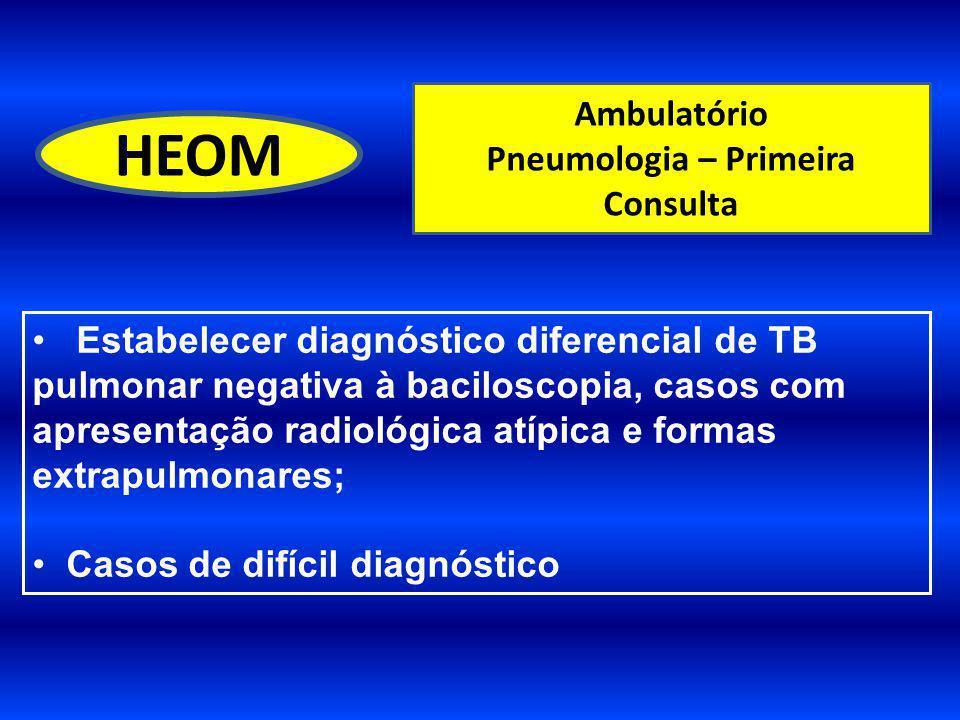 Ambulatório Pneumologia – Primeira Consulta HEOM Estabelecer diagnóstico diferencial de TB pulmonar negativa à baciloscopia, casos com apresentação ra