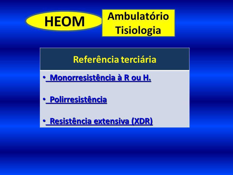 HEOM Ambulatório Tisiologia Referência terciária Monorresistência à R ou H. Monorresistência à R ou H. Polirresistência Polirresistência Resistência e