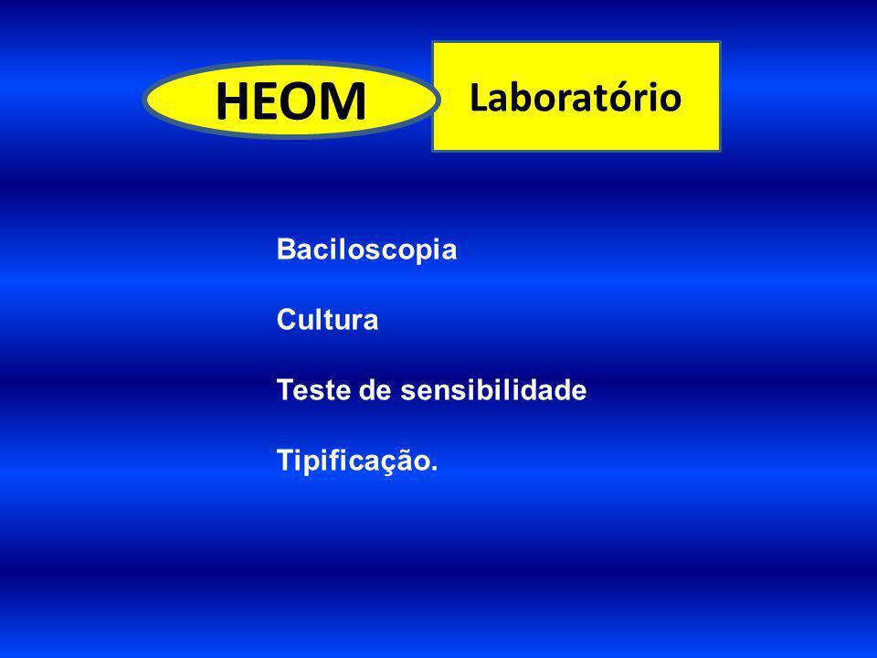 Laboratório HEOM Baciloscopia Cultura Teste de sensibilidade Tipificação.