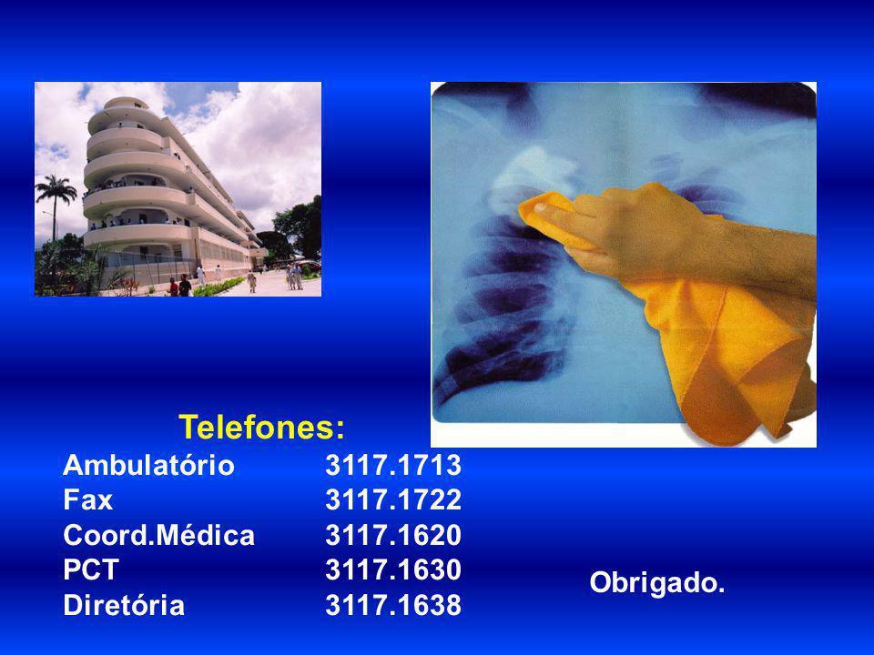 Obrigado. Telefones: Ambulatório 3117.1713 Fax 3117.1722 Coord.Médica 3117.1620 PCT 3117.1630 Diretória 3117.1638
