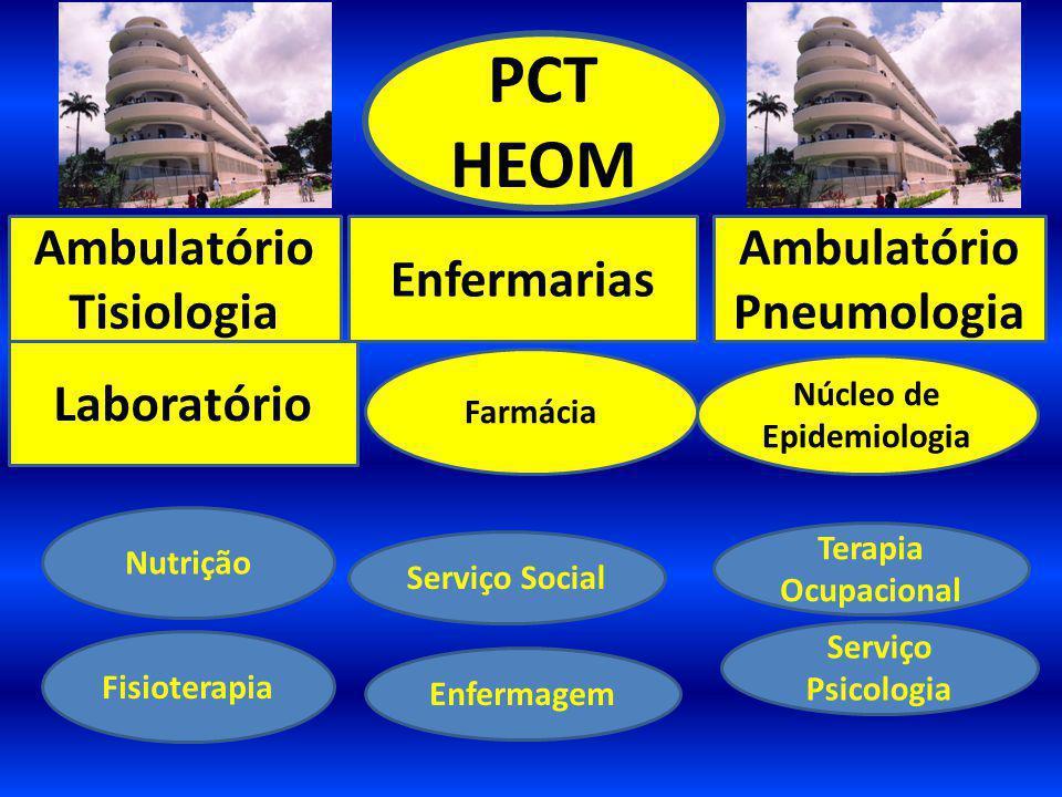 PCT HEOM Ambulatório Tisiologia Enfermarias Laboratório Farmácia Núcleo de Epidemiologia Serviço Social Nutrição Serviço Psicologia Enfermagem Terapia