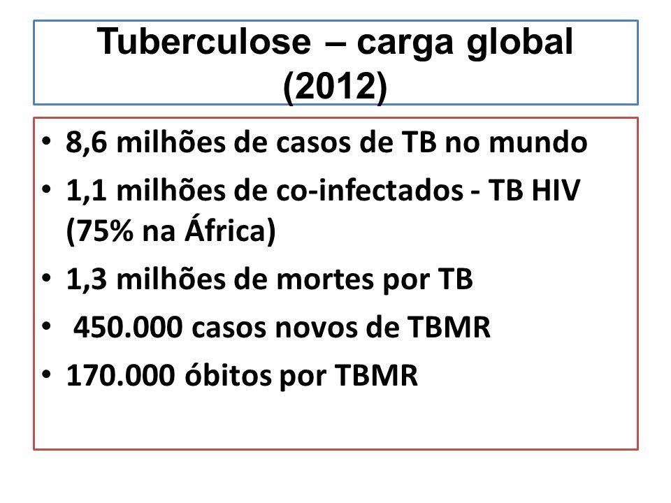 Tuberculose – carga global (2012) 8,6 milhões de casos de TB no mundo 1,1 milhões de co-infectados - TB HIV (75% na África) 1,3 milhões de mortes por TB 450.000 casos novos de TBMR 170.000 óbitos por TBMR