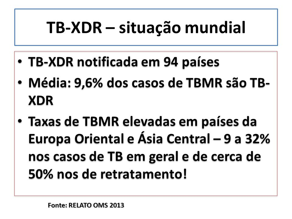 TB-XDR – situação mundial TB-XDR notificada em 94 países Média: 9,6% dos casos de TBMR são TB- XDR Taxas de TBMR elevadas em países da Europa Oriental e Ásia Central – 9 a 32% nos casos de TB em geral e de cerca de 50% nos de retratamento.