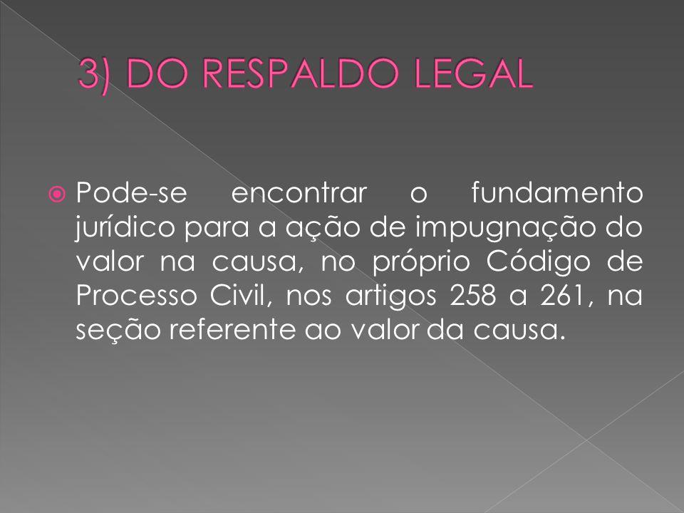  O procedimento é encontrado no artigo 261 do Código de Processo Civil e poderá, de acordo com Araújo Júnior, ser assim resumido : a) Petição de interposição : recebida, a impugnação será atuada em apenso ao processo principal; b) Intimação do impugnado: o impugnado será intimado na pessoa de seu procurador para se manifestar no prazo de 5 dias; c) Perícia: após a resposta do impugnado, o juiz, sem suspender o processo, poderá requerer ajuda de perito; d) Decisão: Entregue o laudo, ou não sendo necessária perícia, logo após manifestação do impugnado, o juiz decidirá em 10 dias sobre qual deve ser o valor da causa.