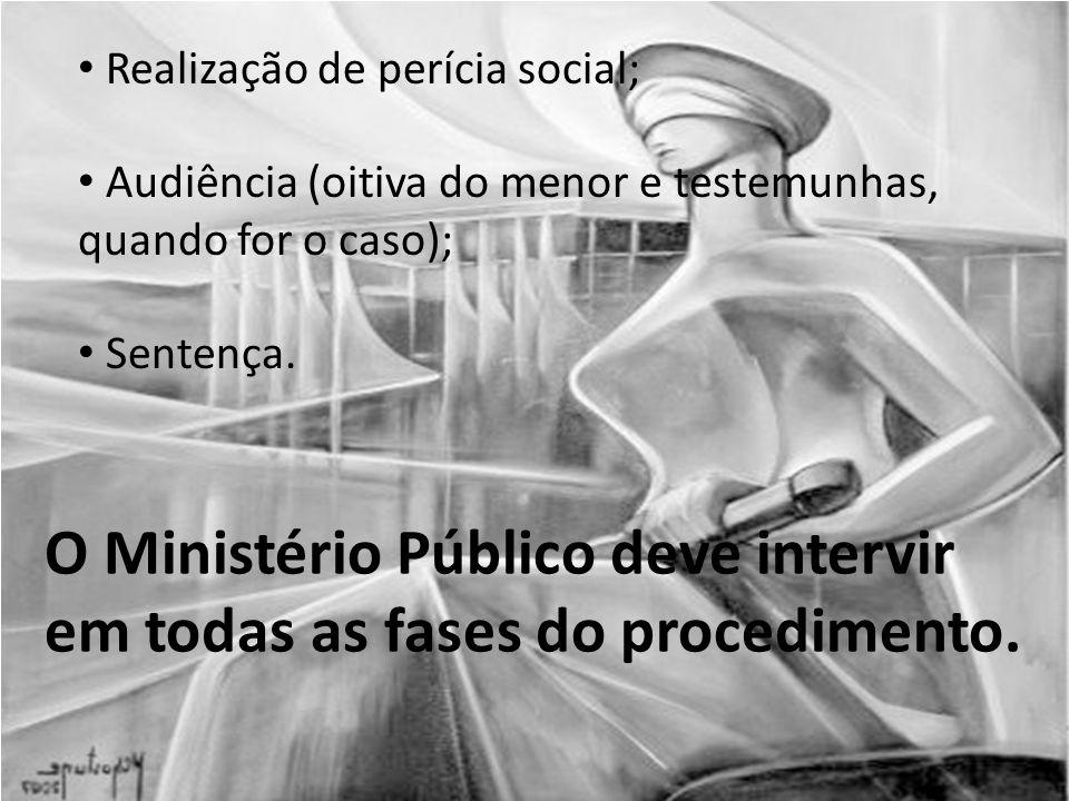 Realização de perícia social; Audiência (oitiva do menor e testemunhas, quando for o caso); Sentença.