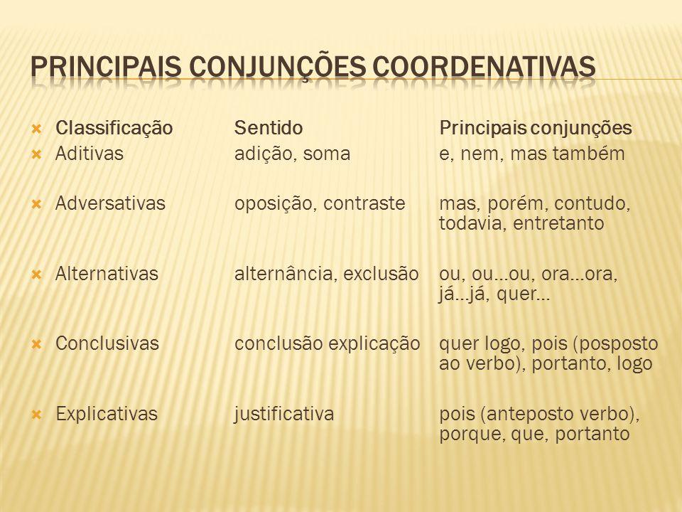  ClassificaçãoSentidoPrincipais conjunções  Aditivasadição, somae, nem, mas também  Adversativasoposição, contrastemas, porém, contudo, todavia, en