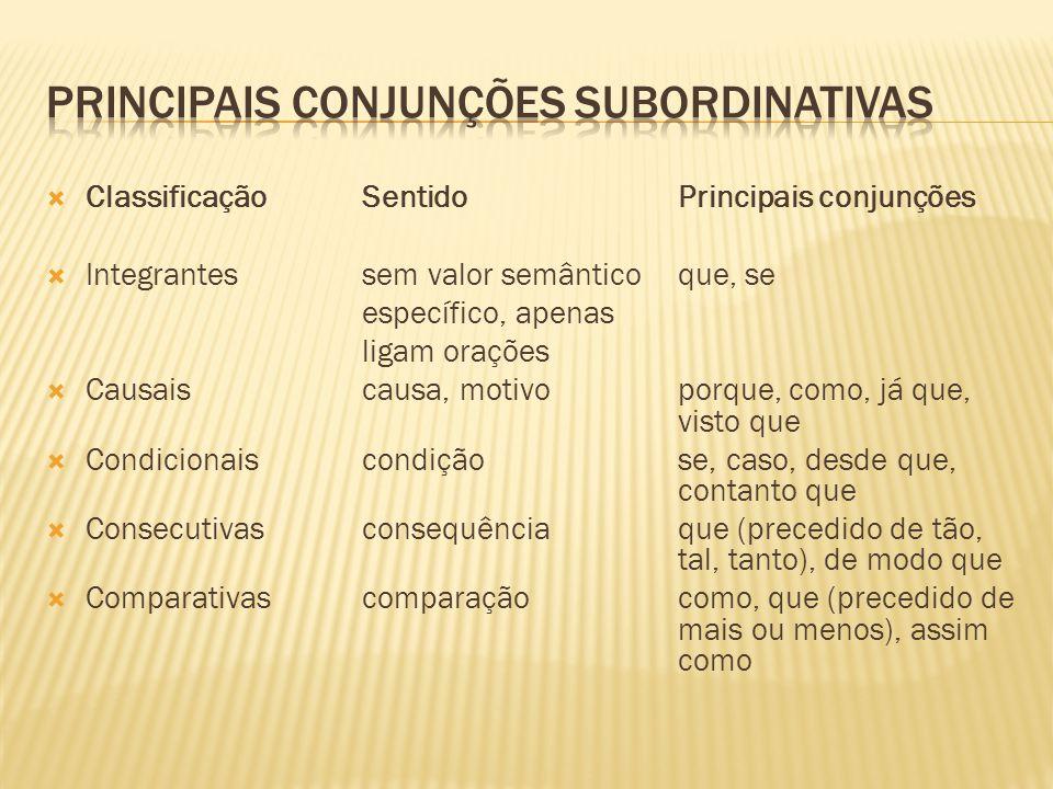  ClassificaçãoSentidoPrincipais conjunções  Integrantessem valor semântico que, se específico, apenas ligam orações  Causaiscausa, motivoporque, co