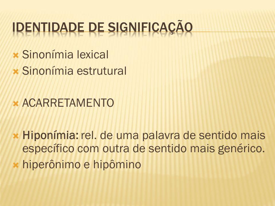  Sinonímia lexical  Sinonímia estrutural  ACARRETAMENTO  Hiponímia: rel. de uma palavra de sentido mais específico com outra de sentido mais genér
