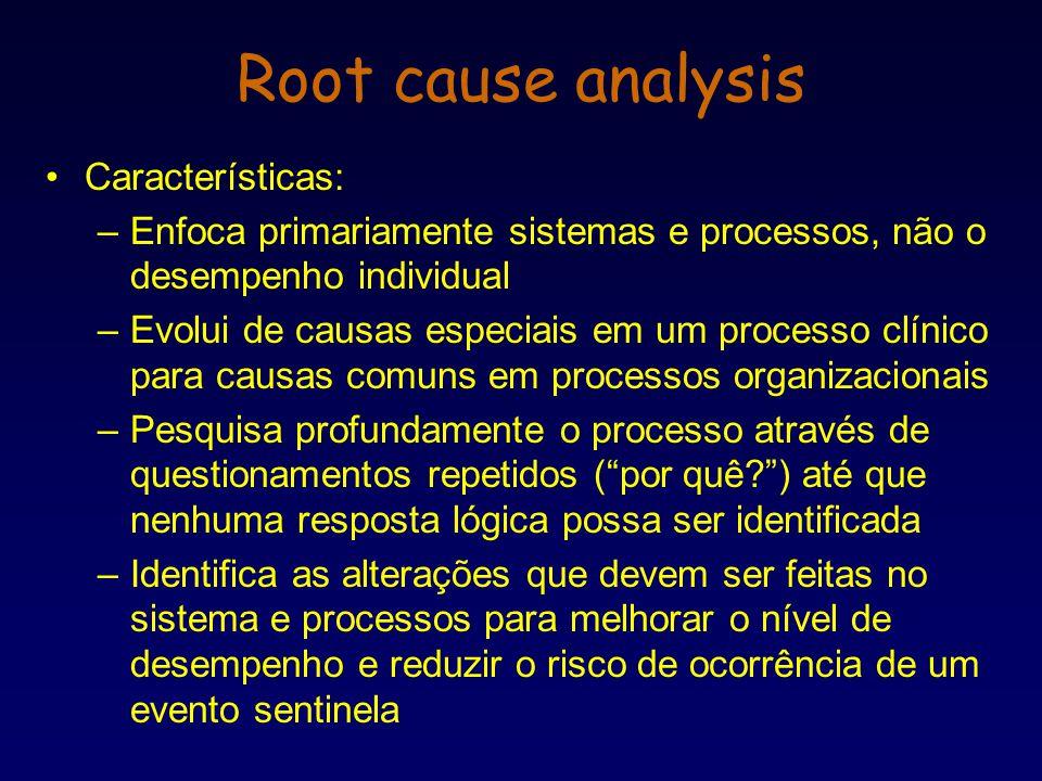 Características: –Enfoca primariamente sistemas e processos, não o desempenho individual –Evolui de causas especiais em um processo clínico para causa