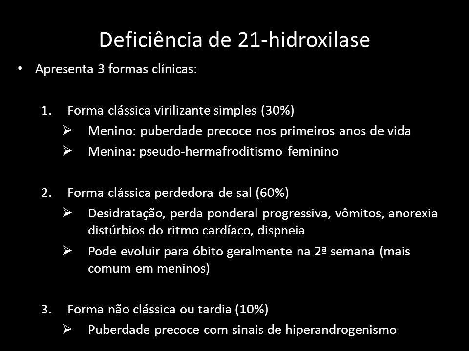 Deficiência de 21-hidroxilase Apresenta 3 formas clínicas: 1.Forma clássica virilizante simples (30%)  Menino: puberdade precoce nos primeiros anos d