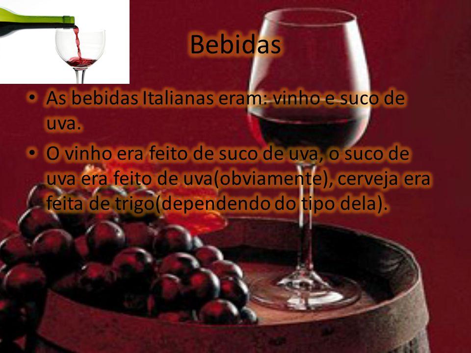 Festas As festas italianas são: A festa de 20 de Maio, festa do vinho e a festa da uva.