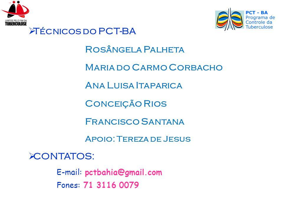  Técnicos do PCT-BA Rosângela Palheta Maria do Carmo Corbacho Ana Luisa Itaparica Conceição Rios Francisco Santana Apoio: Tereza de Jesus  CONTATOS: E-mail: pctbahia@gmail.com Fones: 71 3116 0079
